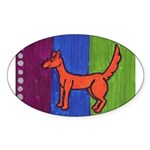 orange dog heel Oval Sticker