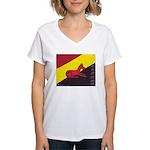 stay dog stay Women's V-Neck T-Shirt