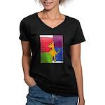 Walk the Yellow Dog Women's V-Neck Dark T-Shirt