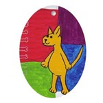 Walk the Yellow Dog Oval Ornament