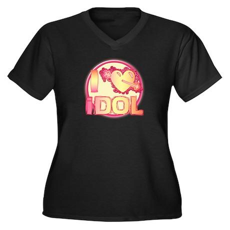 I Heart Idol Women's Plus Size V-Neck Dark T-Shirt