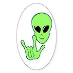 ILY Alien Oval Sticker
