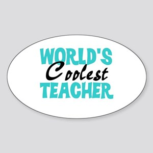 World's Coolest Teacher Sticker (Oval)