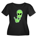 ILY Alien Women's Plus Size Scoop Neck Dark T-Shir