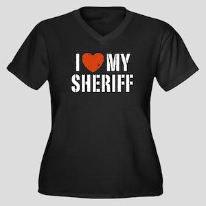 I Love My Sheriff Women's Plus Size V-Neck Dark T-