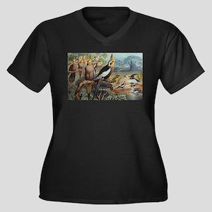 Cockatiel Women's Plus Size V-Neck Dark T-Shirt