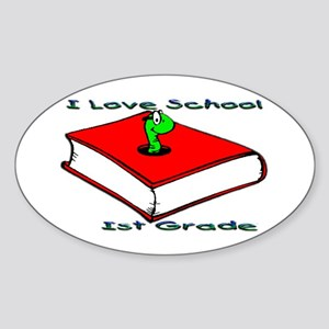 Bookworm 1st Grade Oval Sticker