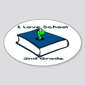 Bookworm 2nd Grade Oval Sticker