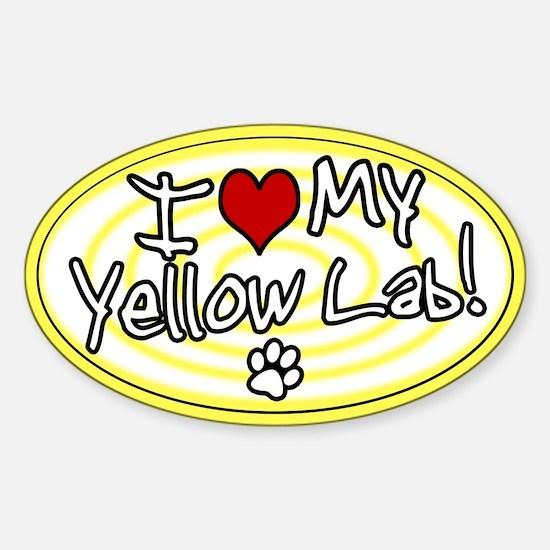 Hypno I Love My Yellow Lab Oval Decal