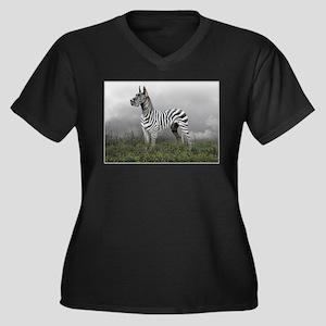 Zebra Great Dane Women's Plus Size V-Neck Dark T-S