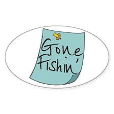 Gone Fishin' Note Oval Sticker