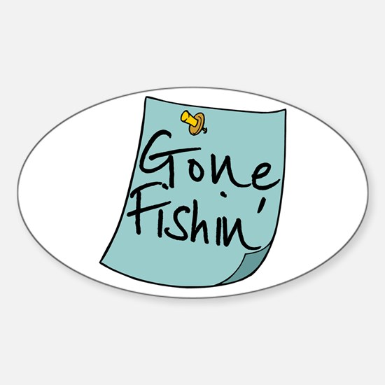 Gone Fishin' Note Oval Decal