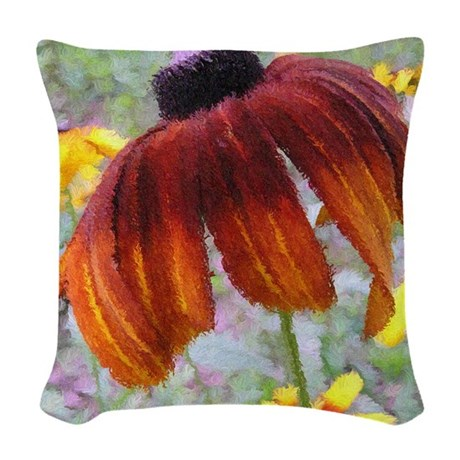 Painted Flower Woven Throw Pillow
