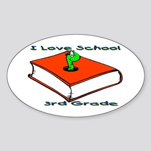 Bookworm 3rd Grade Oval Sticker