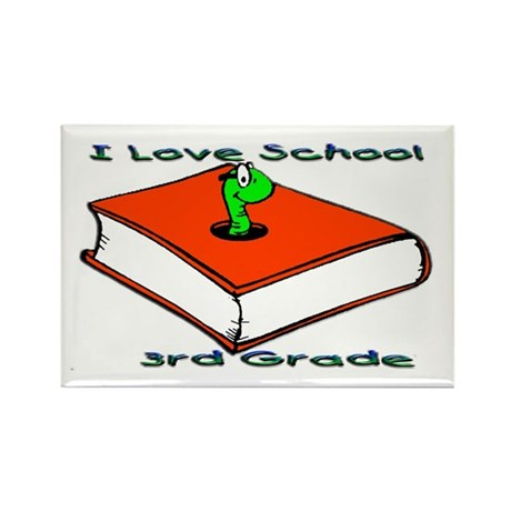 Bookworm 3rd Grade Rectangle Magnet