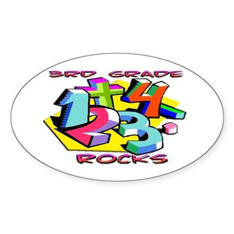 Numbers 3rd Grade Oval Sticker (50 pk)