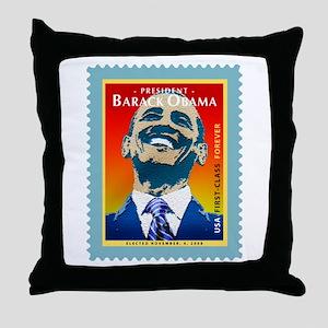 President Obama Stamp - Throw Pillow
