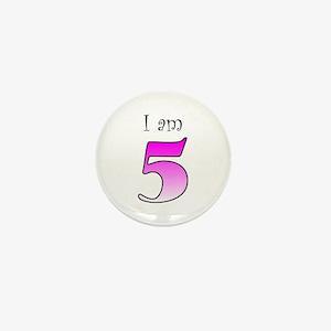 I am 5 (pink) Mini Button