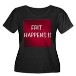 FRIT HAPPENS Women's Plus Size Scoop Neck Dark T-S