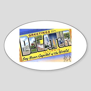 Decatur Illinois Greetings Oval Sticker