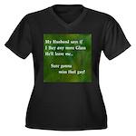 MY HUSBAND Women's Plus Size V-Neck Dark T-Shirt