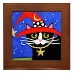 Black Tuxedo CAT Red Witch HAT Framed Tile