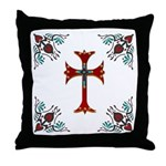 Embellished Western Heart Cross Throw Pillow