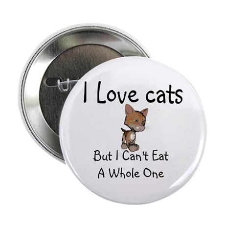 """I Love Cats 2.25"""" Button"""