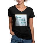 FOILING AGAIN Women's V-Neck Dark T-Shirt