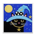 Black Witch CAT Turquoise HAT Art Tile