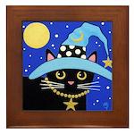 Black Witch CAT Turquoise HAT Framed Tile