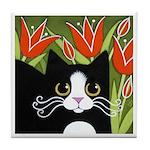 Black & White Tuxedo CAT Red Tulips ART Tile