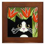 Black White Tuxedo CAT Red Tulips Framed ART Tile