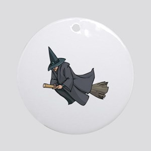 Witch on a Broom Ornament (Round)