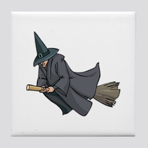Witch on a Broom Tile Coaster
