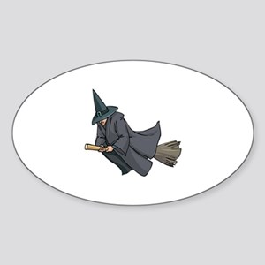 Witch on a Broom Oval Sticker