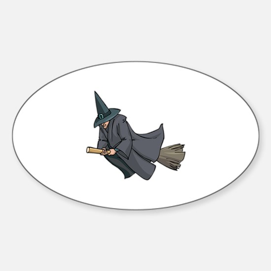 Witch on a Broom Oval Decal