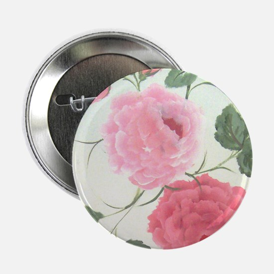 Hand Painted shabby chic rose Button
