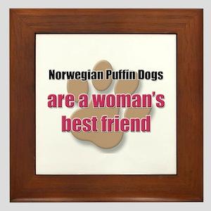 Norwegian Puffin Dogs woman's best friend Framed T