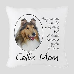 Collie Mom Woven Throw Pillow