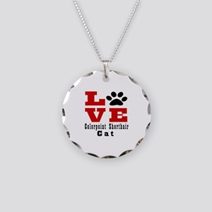 Love colorpoint shorthair Ca Necklace Circle Charm