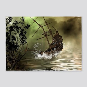 Awesome shipwreck in the sunset 5'x7'Area Rug
