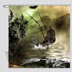 Awesome shipwreck in the sunset Shower Curtain