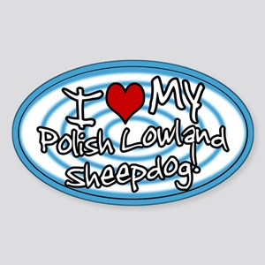 Hypno I Love My Polish Lowland Oval Sticker Blue