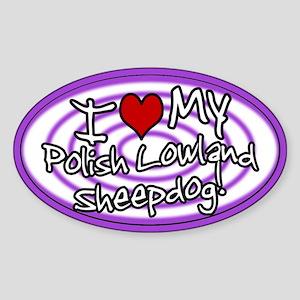 Hypno I Love My Polski Owczarek Sticker Oval Purp