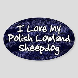 Funky Love Polish Lowland Sheepdog Oval Sticker