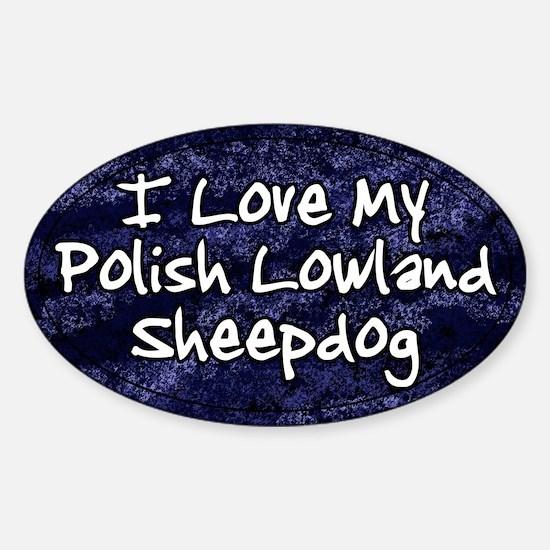 Funky Love Polish Lowland Sheepdog Oval Decal