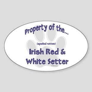 Red & White Property Oval Sticker
