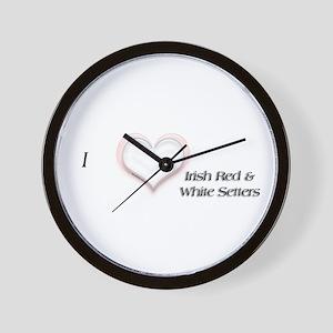 Red & White I Heart Wall Clock