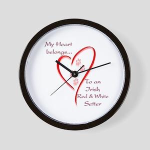 Red & White Heart Belongs Wall Clock